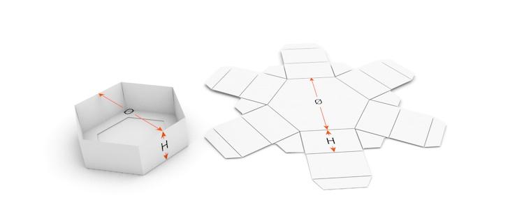 Fond de bo te hexagonal ecma d3111 saxoprint - Patron boite en carton rectangulaire ...